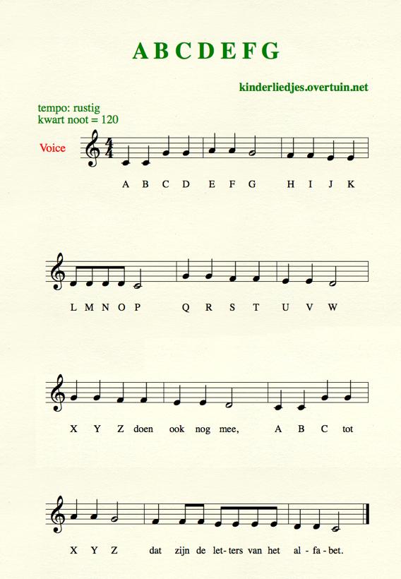 Verbazingwekkend Kinderliedjes met muziek A - muziek en bladmuziek, mp3 en midi WH-62