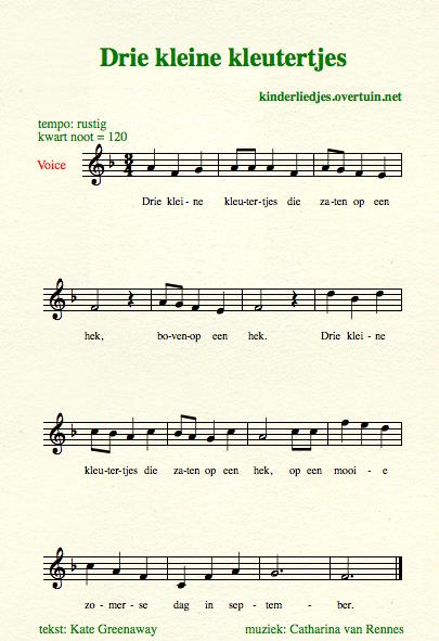 Voorkeur Kinderliedjes met muziek D / muzieknotatie, liedteksten - tekst en #ZL86