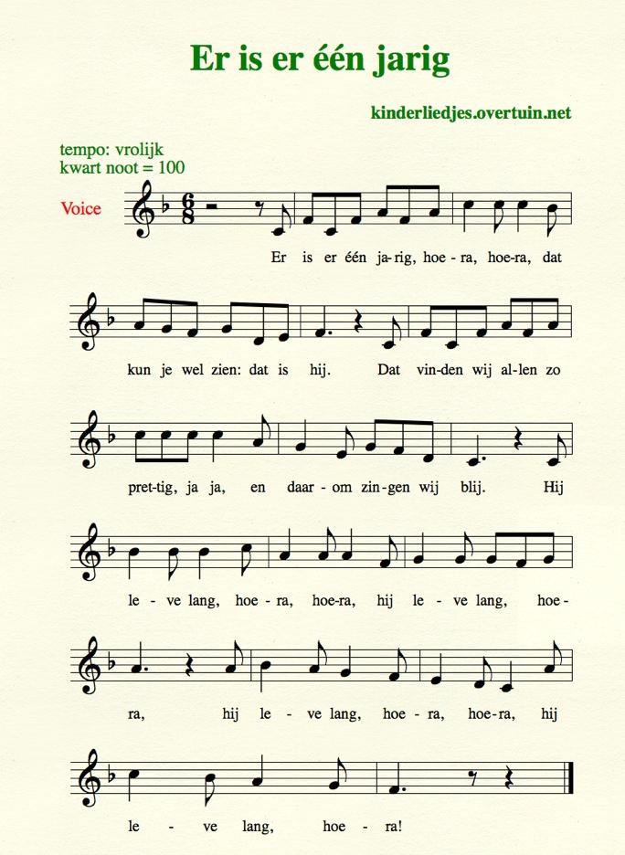 er is een jarig hoera hoera tekst Verjaardagsliedjes met muziek   alle Nederlandse  er is een jarig hoera hoera tekst