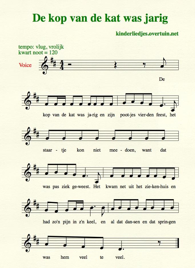 tekst de kop van de kat is jarig Oud Hollandse kinderliedjes met muziek J N   bekende oude  tekst de kop van de kat is jarig