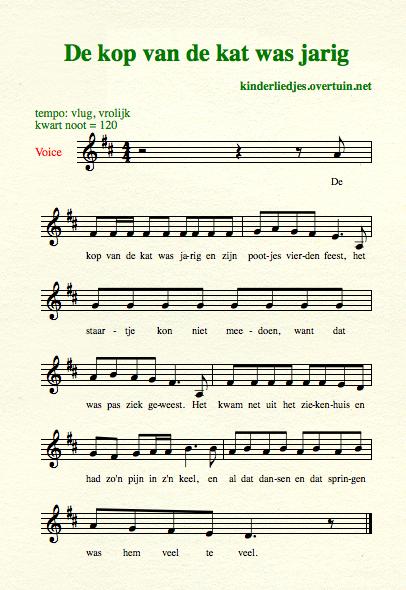 de kop van de kat is jarig songtekst Oud Hollandse kinderliedjes met muziek J N   bekende oude  de kop van de kat is jarig songtekst